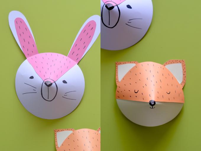 Trofei di carta fai da te coniglio volpe